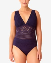 Anne Cole Plus Size Crochet All Day Underwire One Piece Swimsuit Women's Swimsuit Navy
