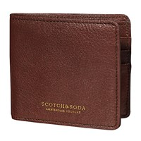 Scotch And Soda Leather Flip Open Wallet Brown
