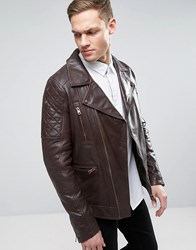 Barney's Barneys Leather Biker Jacket Brown