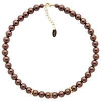 Finesse Faux Pearl Glass Crystal Necklace Brown Gold