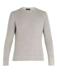 Iris Von Arnim Magellan Waffle Knit Cashmere Sweater Light Grey