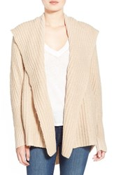 Women's Leith Hooded Fuzzy Open Front Cardigan Beige Moonlight