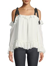 Cynthia Steffe Cold Shoulder Ruffled Blouse White
