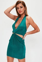 Missguided Green Halterneck Cut Out Twist Waist Dress Blue