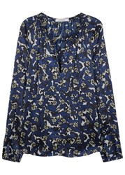 Schumacher Butterfly Print Silk Blouse Navy