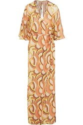 Paul And Joe Nihal Printed Silk Chiffon Maxi Dress Brown