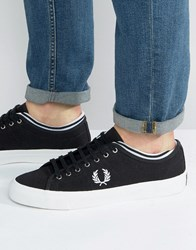 Fred Perry Kendrick Tipped Cuff Canvas Trainers Black