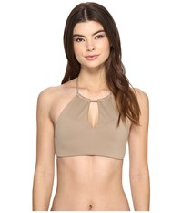 Polo Ralph Lauren Safari Solids High Neck Keyhole Bra Sand Dune Women's Swimwear Khaki