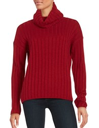 Lord And Taylor Petite Merino Wool Ribbed Turtleneck Sweater Geranium