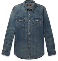 Rrl Slim Fit Denim Western Shirt Blue