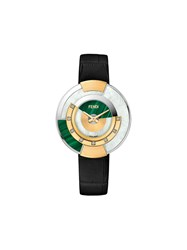 Fendi Policromia Watch Gold Aligator Leather Mother Of Pearl Diamond Black
