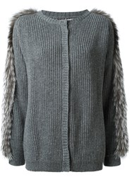 Liska Fox Fur Trim Cardigan Grey