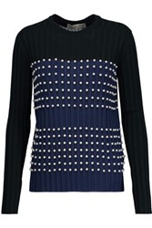 Emilio Pucci Faux Pearl Embellished Ribbed Stretch Knit Sweater Black