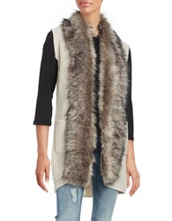 Jessica Simpson Faux Fur Trimmed Vest White