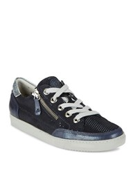Paul Green Luca Sport Zip Accented Lace Up Sneakers Dark Blue