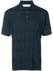 Pringle Of Scotland Argyle Pattern Polo Shirt Blue