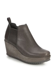 Pedro Garcia Fawn Leather Wedge Booties Grey