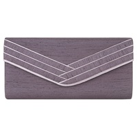 Jacques Vert Piped Bow Clutch Bag Dark Purple