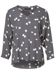Selected Femme Hallie Printed Top Smoked Pearl