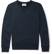 Officine Generale Fleece Back Cotton Jersey Sweatshirt Blue
