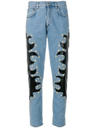 Moschino Studded Patch Straight Jeans Cotton Polyester Polyurethane Blue