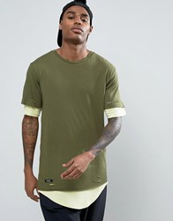 Cayler And Sons Longline Layered T Shirt With Distressing Khaki Green