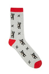 Forever 21 Men Ninja Crew Socks Heather Grey Red