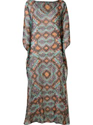 Sub Long Printed Kaftan Brown