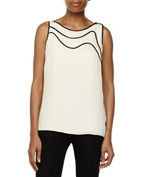 Halston Heritage Sleeveless Top With Piping Detail Cream Black