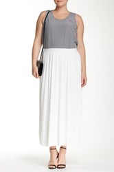 Joan Vass Pleated Maxi Skirt Plus Size White