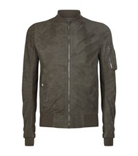 Rick Owens Blistered Leather Bomber Jacket Male Green