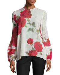Giambattista Valli Rose Print Chiffon Blouse White Red Blk Pink Rose