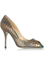 Alberto Moretti Metallic Snake Effect Leather Peep Toe Pumps
