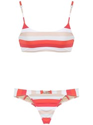 Amir Slama Striped Bikini Set Red