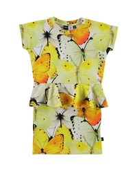 Molo Cap Sleeve Peplum Butterfly Dress Yellow
