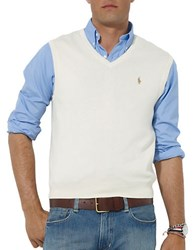 Polo Ralph Lauren Pima Cotton V Neck Sweater Vest Crescent Cream