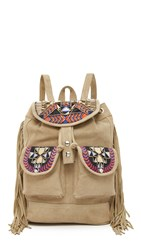 One By Embroidered Backpack Tan
