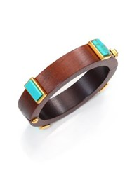 Lizzie Fortunato Cubist Turquoise And Wood Bangle Bracelet Wood Turquoise