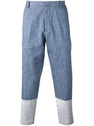 Msgm Patch Panel Trousers Blue