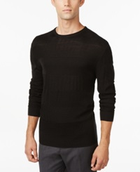 Ryan Seacrest Distinction Rugby Stripe Crew Neck Sweater Only At Macy's Jet Black