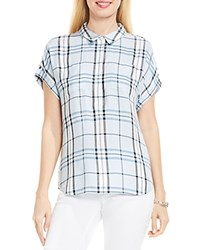 Vince Camuto Two By Box Plaid Button Down Shirt Soft Skies