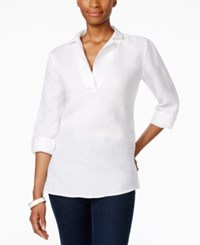 Charter Club Linen Tab Sleeve Tunic Only At Macy's Bright White
