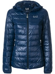 Emporio Armani Ea7 Logo Print Puffer Jacket Polyamide Feather Down Blue