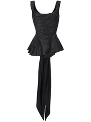 Marchesa Fitted Peplum Top Black