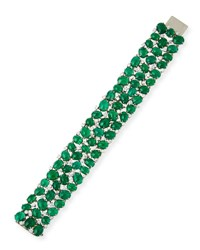 Oscar Heyman Emerald Cabochon Bracelet With Mixed Cut Diamonds In Platinum