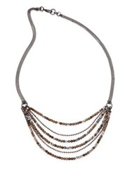 Peserico Layered Beaded Long Chain Necklace Bronze