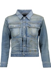 R 13 R13 X Shrunken Trucker Appliqued Denim Jacket Light Denim