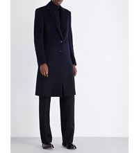 Joseph Single Breasted Wool And Cashmere Blend Coat 370 Navy