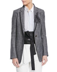 Brunello Cucinelli One Button Fitted Silk Linen Tweed Blazer Gray