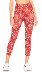 Beyond Yoga Lux High Waisted Capri Legging In Red. Scarlet Sun Batik Blooms